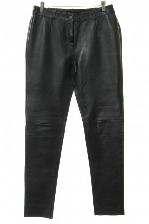 Patrizia Dini Lederhose schwarz-silberfarben Biker-Look