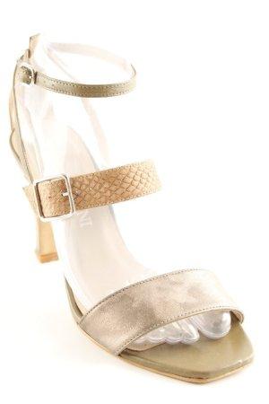 Patrizia Dini Riemchen-Sandaletten beige-khaki Reptil-Optik