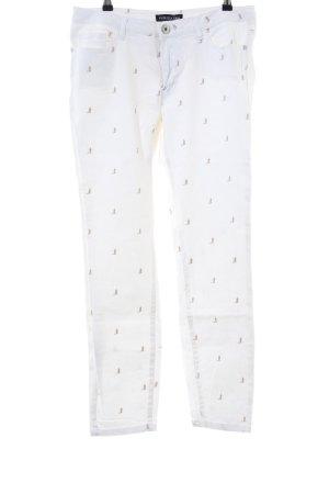 Patrizia Dini Slim Jeans weiß Allover-Druck Casual-Look