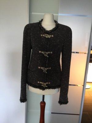 Patrizia Pepe Tweed blazer donkergrijs-zwart