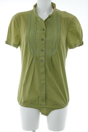 Patrizia Pepe Blusa tipo body verde oliva estilo romántico
