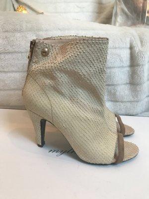 Patrizia Pepe Booties snake leather peep toes Gr. 39 nude beige