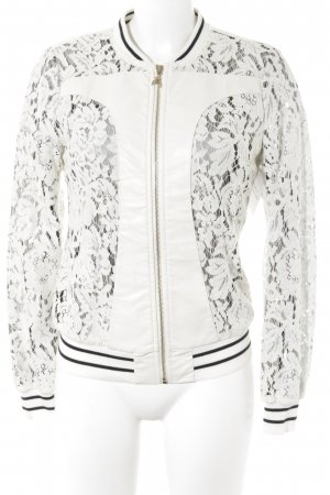Patrizia Pepe College Jacket cream-black floral pattern lace look