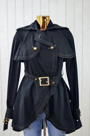 PATRIZIA PEPE Damen Mantel Trenchcoat Baumwolle Schwarz Gold Weiß ital.40/dt.34