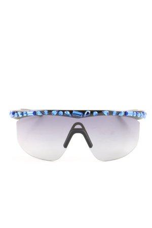 Patrizia Pepe Hoekige zonnebril zwart-blauw extravagante stijl