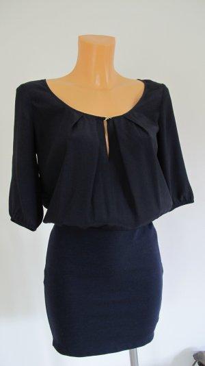 Patrizia Pepe Blouse Dress dark blue-gold-colored mixture fibre