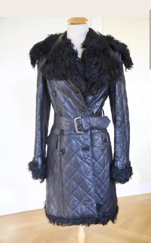 Patrizia Pepe Lammfell Mantel quilted Ledermantel chanel look