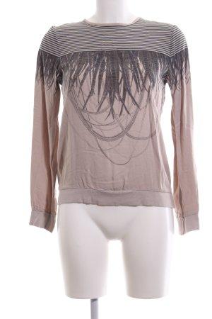 Patrizia Pepe Langarm-Bluse nude-hellgrau abstraktes Muster Casual-Look