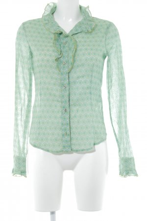 Patrizia Pepe Langarm-Bluse limettengelb-kadettblau florales Muster 70ies-Stil