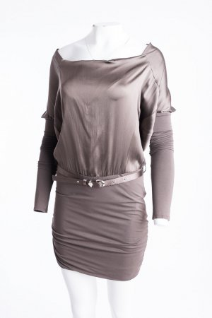 PATRIZIA PEPE - Langarm Schlauchkleid mit Seideneinsatz Braun