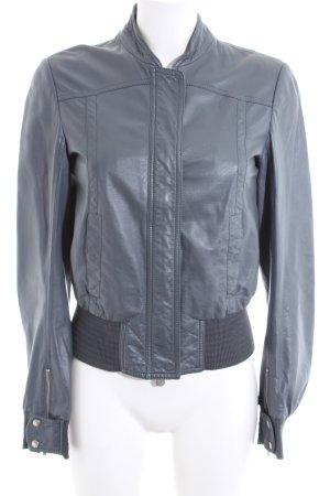 Patrizia Pepe Veste en cuir gris clair style décontracté