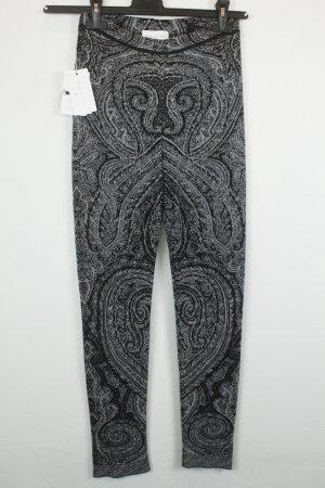 Patrizia Pepe Leggings  Gr. 1 / dt. 34 schwarz grau Barock Ornamente | Modell: Black Brocade NEU