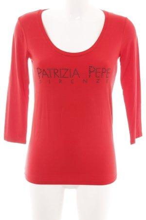 Patrizia Pepe Longsleeve rot Schriftzug gedruckt Casual-Look