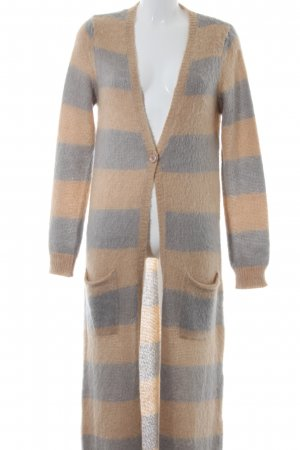 Patrizia Pepe Long Knitted Vest grey-camel striped pattern casual look