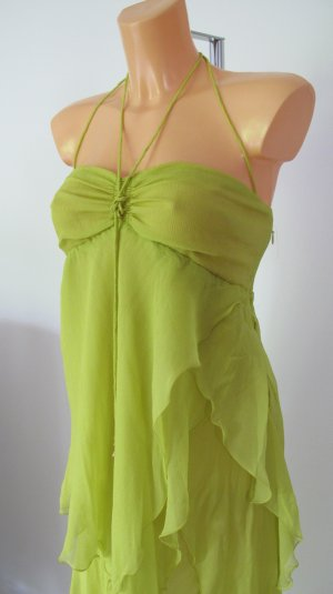 Patrizia Pepe High Low Dress lime-green-gold-colored silk