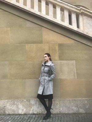 Patrizia Pepe Mantel Gr. 36 S grau Wolle Kaschmir Cashmere elegant Wollmantel