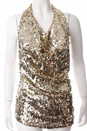 Patrizia Pepe Halter Top gold-colored glittery