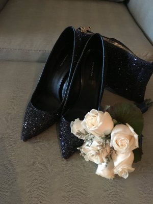 Patrizia Pepe Pumps in Dark Blue All Over Glitzer Gr. 39