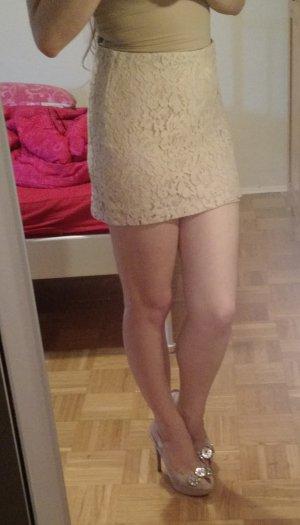 Patrizia Pepe Rock Gr. 34 XS beige spitze lace mini kurz nude blogger