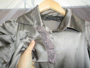 PATRIZIA PEPE - schimmernde Seidenbluse Glockenärmel Rüschen Spitze - silber anthrazit grau - XS S 34 36