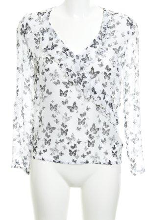 Patrizia Pepe Schlupf-Bluse weiß-schwarz Animalmuster Elegant