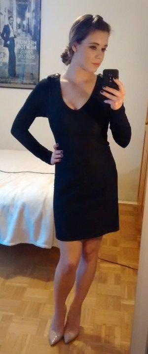 Patrizia Pepe Sera Kleid Gr. 34 XS Etuikleid schwarz Langarmig luxus designer
