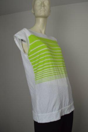 Patrizia Pepe Shirt Gr. S (1) weiß neon grün mit Rüschen hinten