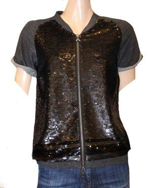 PATRIZIA PEPE Shirt mit Pailletten und Reißverschluss Gr. 38