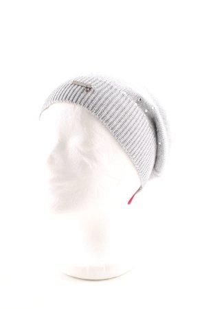 Patrizia Pepe Sombrero de punto gris claro punto trenzado look casual