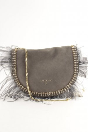"Patrizia Pepe Borsa a spalla ""Crossbody Bag Feathers+Gemstones Suede Dark Grey"""