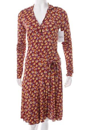 Patrizia Pepe Wickelkleid blassgelb-rostrot abstraktes Muster 70ies-Stil