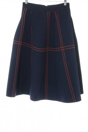 Patrizia Pepe Wool Skirt blue-red striped pattern casual look