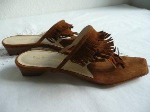 Sandalo toe-post marrone Scamosciato
