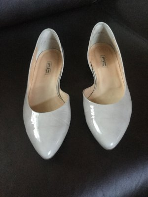 Paul Green Patent Leather Ballerinas light grey-oatmeal