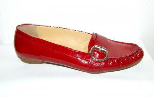 Paul Green Patent Leather Ballerinas dark red leather