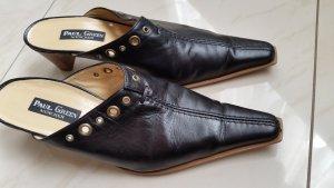 PAUL GREEN Clogs Sabots Mules Pantoletten 7,5 Leder schwarz wenig getragen