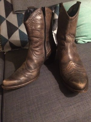 Paul Green Cowboy Boots Stiefeletten Stiefel 39 braun Leder