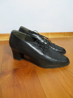 Paul Green Handmade Schwarz Vollleder Schnürer Vintage Minimal Schuhe Lace ups 36,5 37