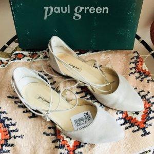 Paul Green Leder Ballerinas Sandalen 37 Creme-Perlmutt wie neu