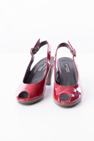 PAUL GREEN - Peeptoe-Pumps Lackleder Rot