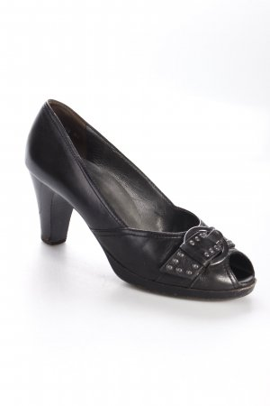 Paul Green Peeptoe Pumps schwarz Nieten-Detail