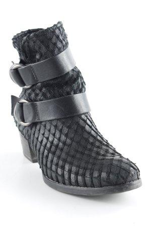 Paul Green Reißverschluss-Stiefeletten schwarz Karomuster Casual-Look