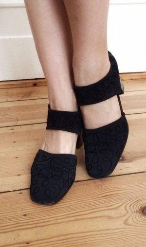 Paul Green Sandalette Heels Sandalen schwarz Stickerei edel schick hochwertig bequem Luxus 38