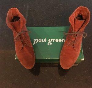 Paul Green Schnür-Stiefeletten Cognac Wildleder