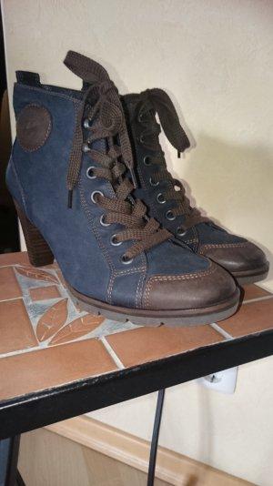 Paul Green Stiefel Schuhe Gr 38 Uk 5 blau / braun neu