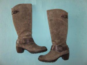 Paul Green Heel Boots grey brown leather
