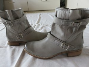 Paul Green Zipper Booties light grey-silver-colored leather
