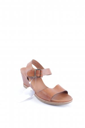 Paul Green Wedge Sandals cognac-coloured classic style