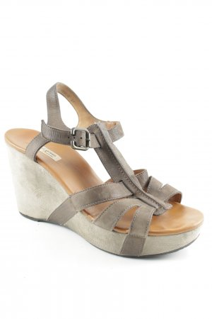 Paul Green Wedge Sandals grey brown-brown classic style