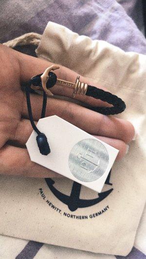 Paul Hewitt Bracelet en cuir noir-or rose